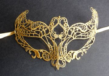 Genuine Venetian Burano Lace Gold Mask (a